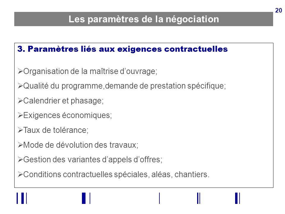 20 Les paramètres de la négociation 3. Paramètres liés aux exigences contractuelles Organisation de la maîtrise douvrage; Qualité du programme,demande