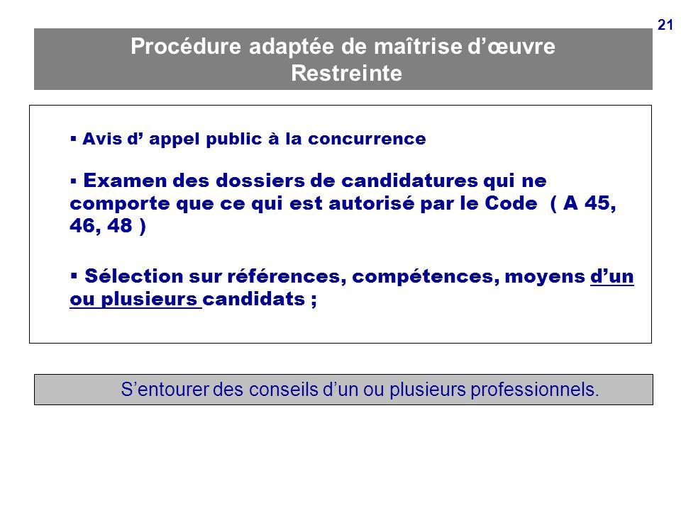 21 Procédure adaptée de maîtrise dœuvre Restreinte Avis d appel public à la concurrence Examen des dossiers de candidatures qui ne comporte que ce qui