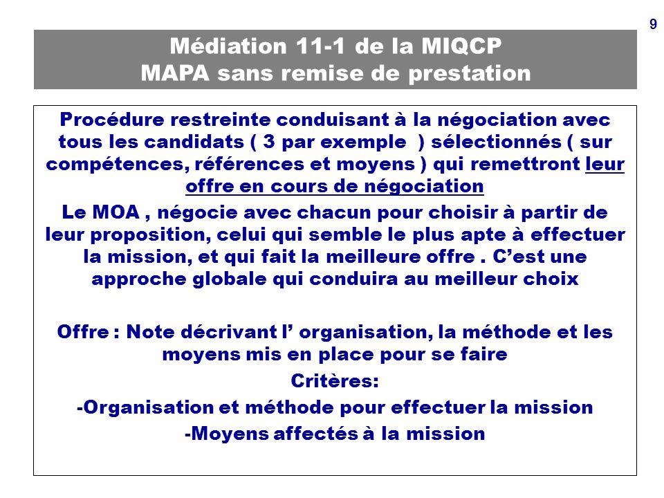 9 Médiation 11-1 de la MIQCP MAPA sans remise de prestation Procédure restreinte conduisant à la négociation avec tous les candidats ( 3 par exemple )