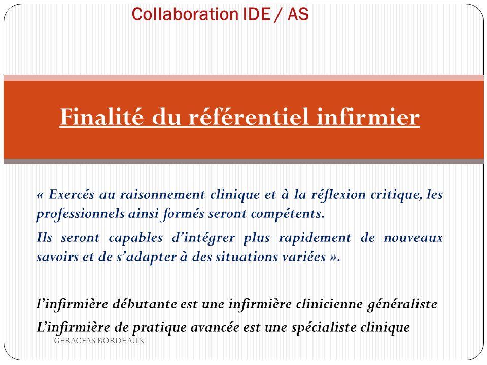 Collaboration IDE / AS Finalité du référentiel infirmier « Exercés au raisonnement clinique et à la réflexion critique, les professionnels ainsi formés seront compétents.