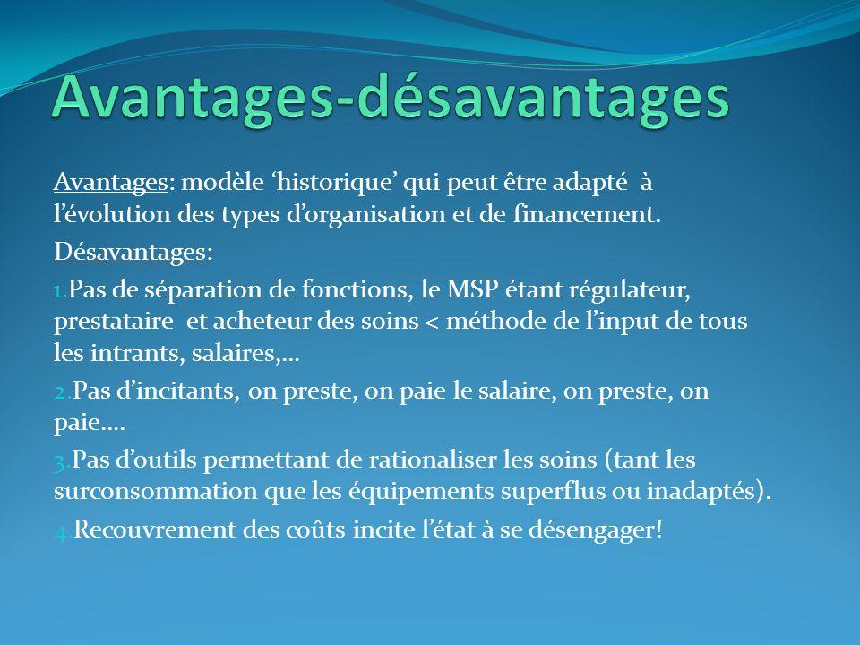 Avantages: modèle historique qui peut être adapté à lévolution des types dorganisation et de financement. Désavantages: 1. Pas de séparation de foncti