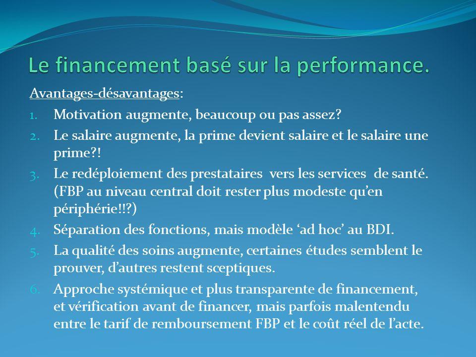 Commentaire (personnel): La politique de la santé au Burundi cible la déconcentration (BPS-BRS?) et la décentralisation des services et soins au plus proche de la communauté via la mise en place du fonctionnement efficace ET efficient des districts sanitaires: processus long et pluriannuel.