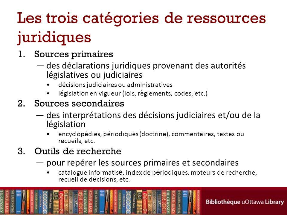 Les trois catégories de ressources juridiques 1.Sources primaires des déclarations juridiques provenant des autorités législatives ou judiciaires déci
