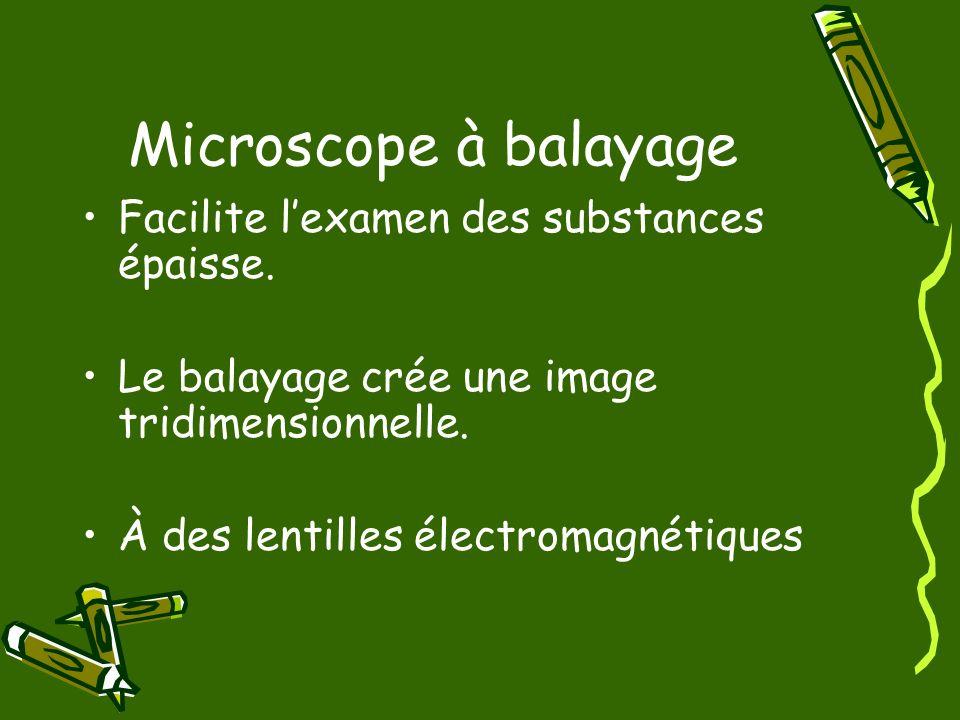 Microscope à balayage Facilite lexamen des substances épaisse. Le balayage crée une image tridimensionnelle. À des lentilles électromagnétiques
