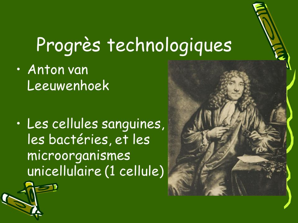 Progrès technologiques Anton van Leeuwenhoek Les cellules sanguines, les bactéries, et les microorganismes unicellulaire (1 cellule)