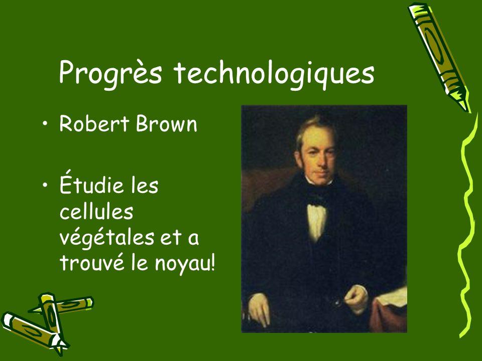 Progrès technologiques Robert Brown Étudie les cellules végétales et a trouvé le noyau!