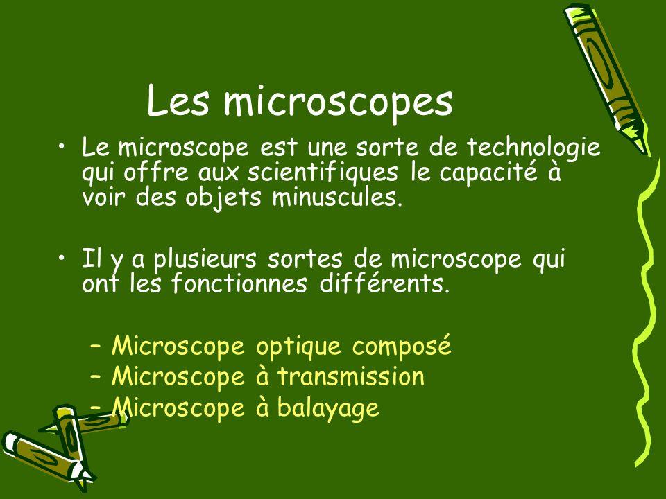 Les microscopes Le microscope est une sorte de technologie qui offre aux scientifiques le capacité à voir des objets minuscules. Il y a plusieurs sort
