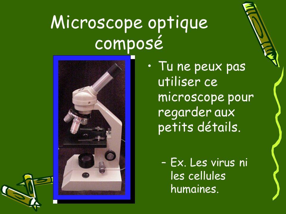 Microscope optique composé Tu ne peux pas utiliser ce microscope pour regarder aux petits détails. –Ex. Les virus ni les cellules humaines.