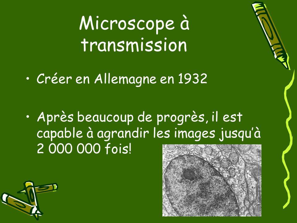 Microscope à transmission Utilise des faisceaux délectrons.