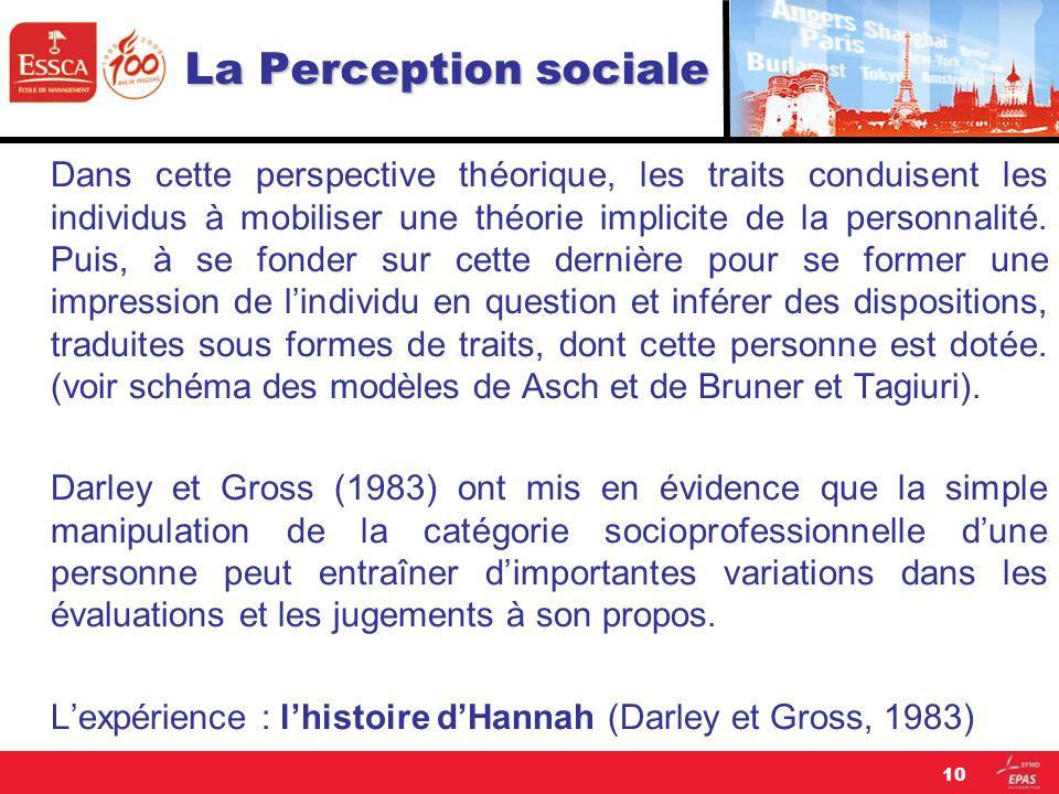 La Perception sociale Dans cette perspective théorique, les traits conduisent les individus à mobiliser une théorie implicite de la personnalité. Puis