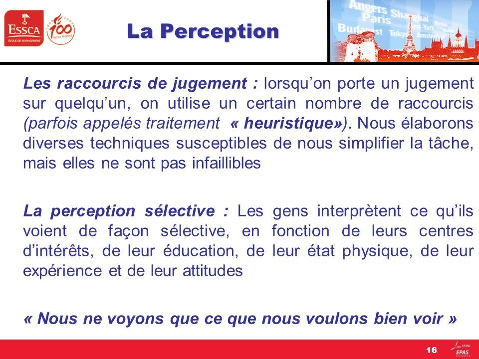 La Perception Les raccourcis de jugement : lorsquon porte un jugement sur quelquun, on utilise un certain nombre de raccourcis (parfois appelés traite