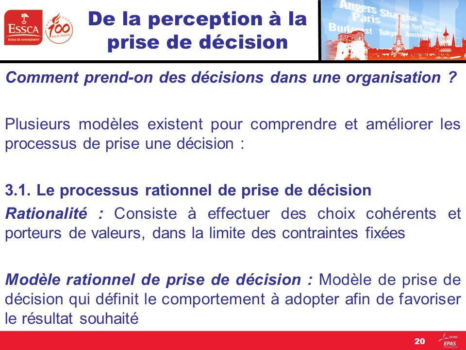 De la perception à la prise de décision Comment prend-on des décisions dans une organisation ? Plusieurs modèles existent pour comprendre et améliorer