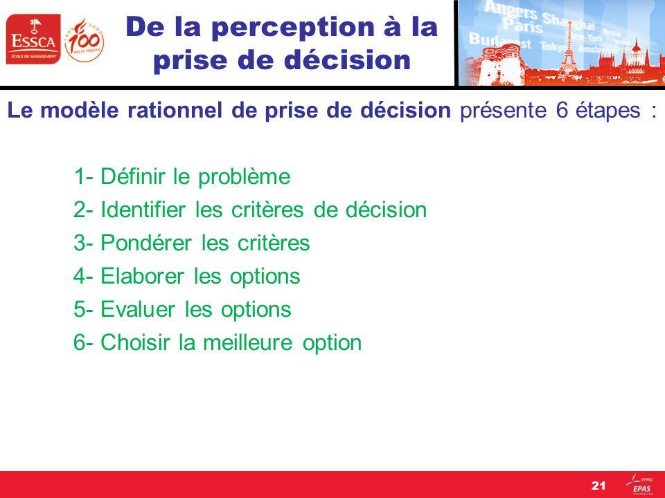 De la perception à la prise de décision Le modèle rationnel de prise de décision présente 6 étapes : 1- Définir le problème 2- Identifier les critères