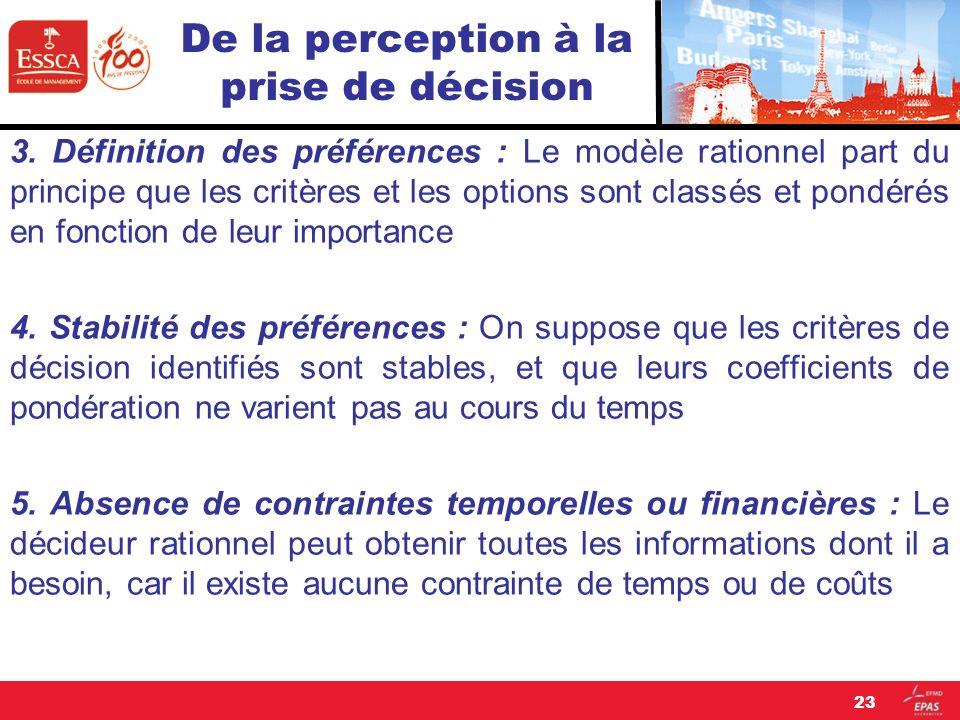 De la perception à la prise de décision 3. Définition des préférences : Le modèle rationnel part du principe que les critères et les options sont clas