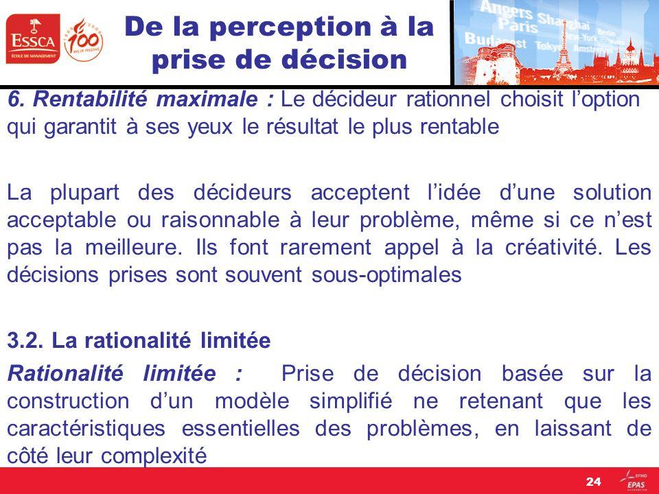 De la perception à la prise de décision 6. Rentabilité maximale : Le décideur rationnel choisit loption qui garantit à ses yeux le résultat le plus re
