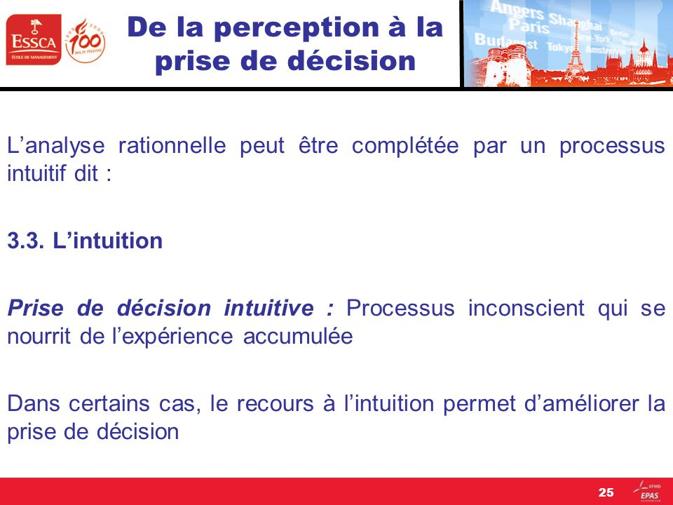De la perception à la prise de décision Lanalyse rationnelle peut être complétée par un processus intuitif dit : 3.3. Lintuition Prise de décision int