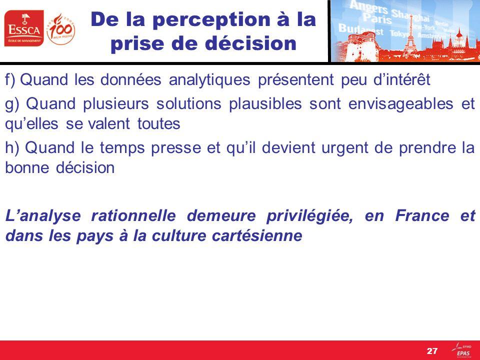 De la perception à la prise de décision f) Quand les données analytiques présentent peu dintérêt g) Quand plusieurs solutions plausibles sont envisage