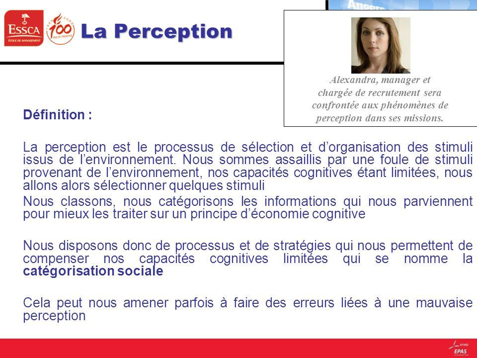 La Perception Définition : La perception est le processus de sélection et dorganisation des stimuli issus de lenvironnement. Nous sommes assaillis par