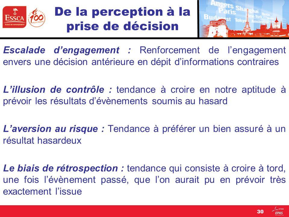 De la perception à la prise de décision Escalade dengagement : Renforcement de lengagement envers une décision antérieure en dépit dinformations contr