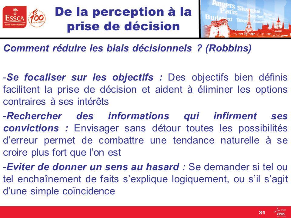 De la perception à la prise de décision Comment réduire les biais décisionnels ? (Robbins) -Se focaliser sur les objectifs : Des objectifs bien défini