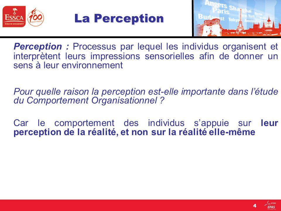 La Perception Perception : Processus par lequel les individus organisent et interprètent leurs impressions sensorielles afin de donner un sens à leur