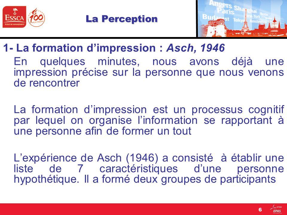 La Perception 1- La formation dimpression : Asch, 1946 En quelques minutes, nous avons déjà une impression précise sur la personne que nous venons de