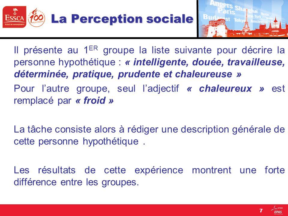 La Perception sociale Il présente au 1 ER groupe la liste suivante pour décrire la personne hypothétique : « intelligente, douée, travailleuse, déterm