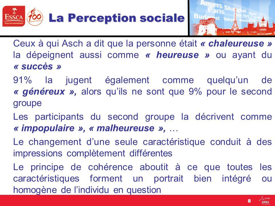 La Perception sociale Ceux à qui Asch a dit que la personne était « chaleureuse » la dépeignent aussi comme « heureuse » ou ayant du « succès » 91% la
