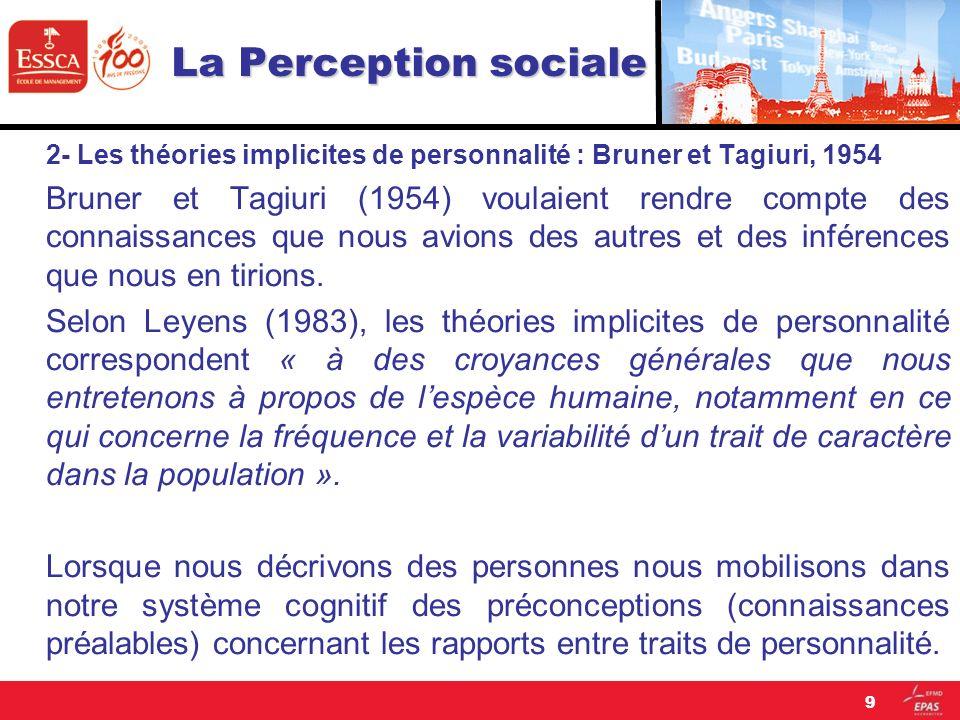 La Perception sociale 2- Les théories implicites de personnalité : Bruner et Tagiuri, 1954 Bruner et Tagiuri (1954) voulaient rendre compte des connai