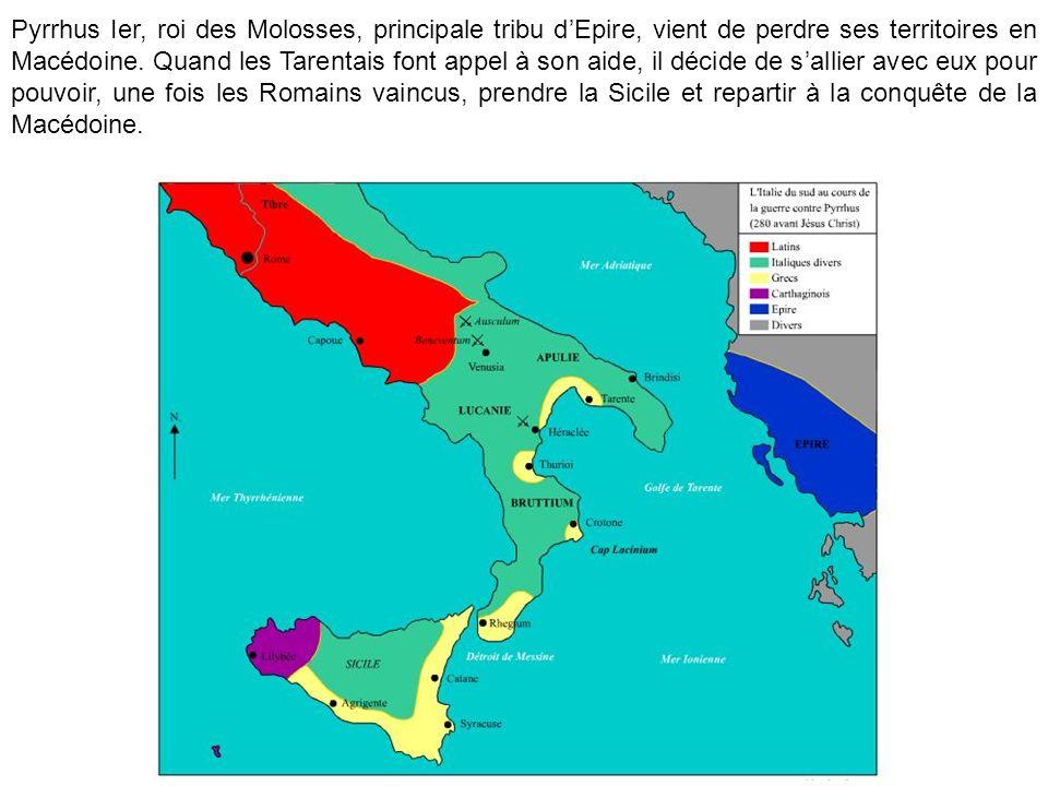 Pyrrhus Ier, roi des Molosses, principale tribu dEpire, vient de perdre ses territoires en Macédoine. Quand les Tarentais font appel à son aide, il dé