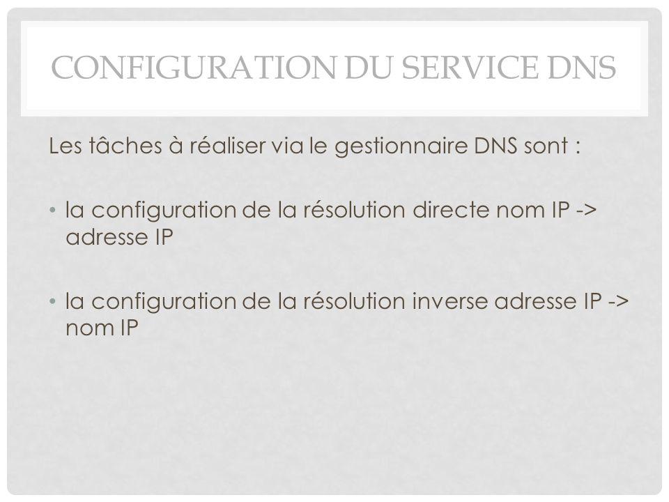 CONFIGURATION DU SERVICE DNS Les tâches à réaliser via le gestionnaire DNS sont : la configuration de la résolution directe nom IP -> adresse IP la co