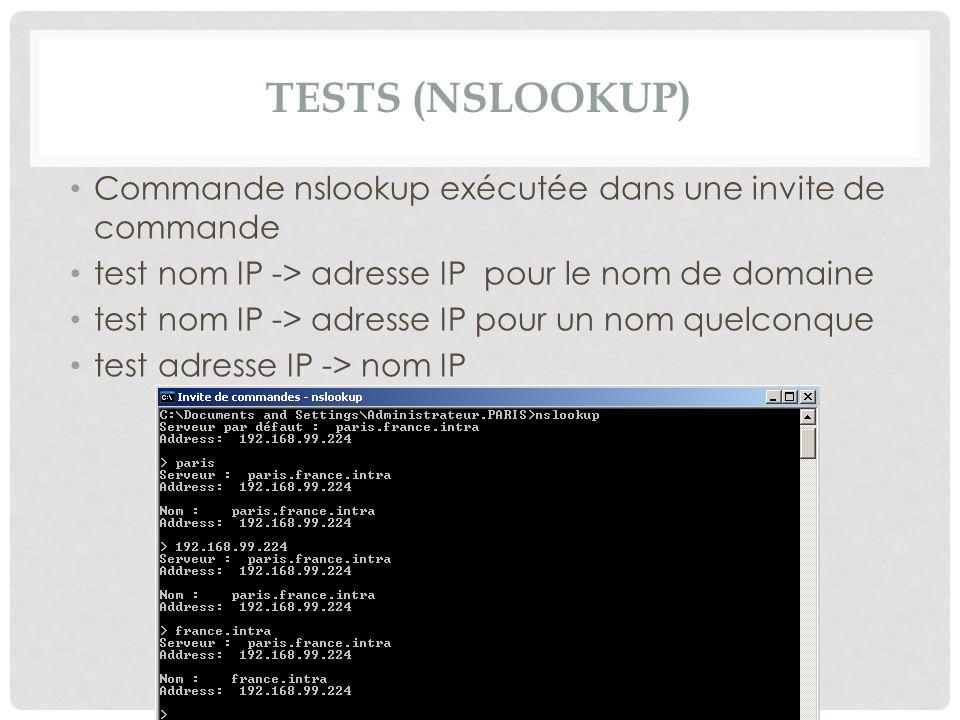 TESTS (NSLOOKUP) Commande nslookup exécutée dans une invite de commande test nom IP -> adresse IP pour le nom de domaine test nom IP -> adresse IP pou