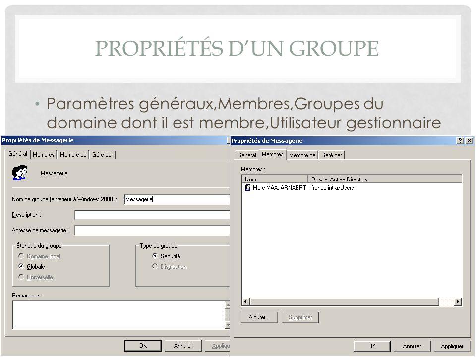 PROPRIÉTÉS DUN GROUPE Paramètres généraux,Membres,Groupes du domaine dont il est membre,Utilisateur gestionnaire