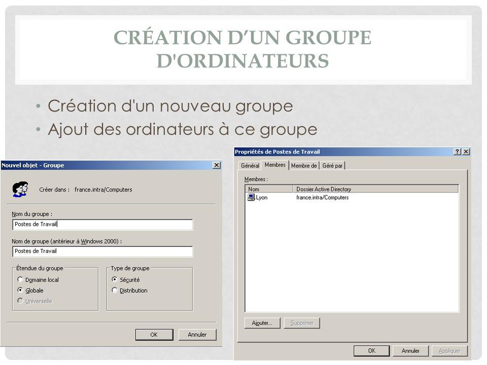 CRÉATION DUN GROUPE D'ORDINATEURS Création d'un nouveau groupe Ajout des ordinateurs à ce groupe
