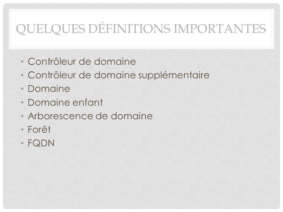 QUELQUES DÉFINITIONS IMPORTANTES Contrôleur de domaine Contrôleur de domaine supplémentaire Domaine Domaine enfant Arborescence de domaine Forêt FQDN