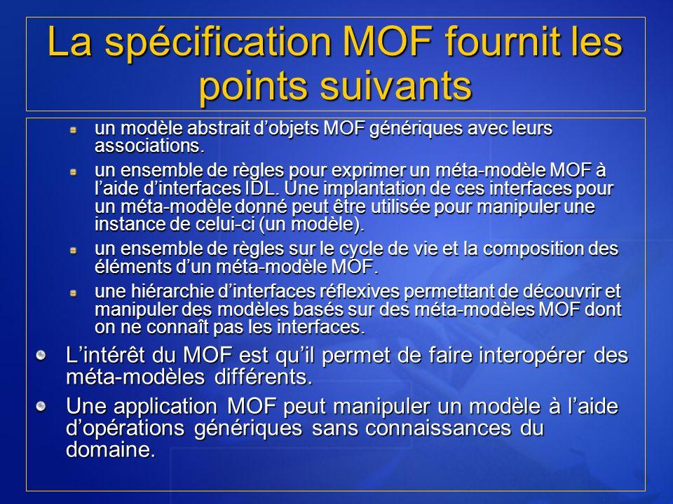 un modèle abstrait dobjets MOF génériques avec leurs associations. un ensemble de règles pour exprimer un méta-modèle MOF à laide dinterfaces IDL. Une