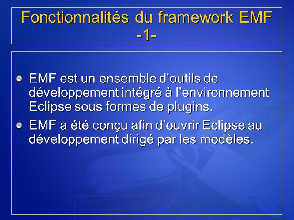 Fonctionnalités du framework EMF -1- EMF est un ensemble doutils de développement intégré à lenvironnement Eclipse sous formes de plugins. EMF a été c