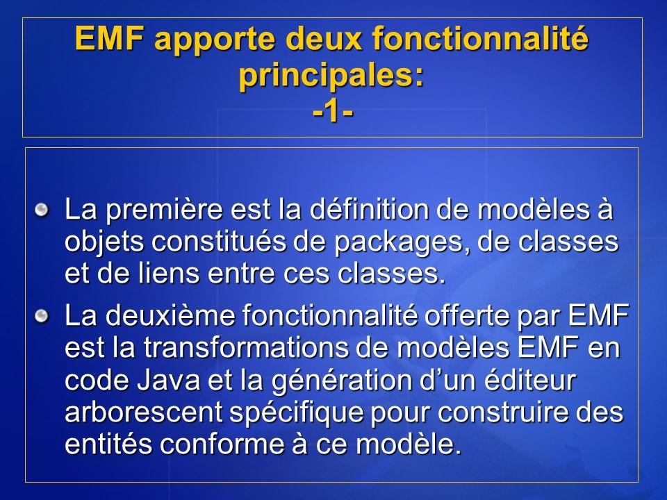 EMF apporte deux fonctionnalité principales: -1- La première est la définition de modèles à objets constitués de packages, de classes et de liens entr