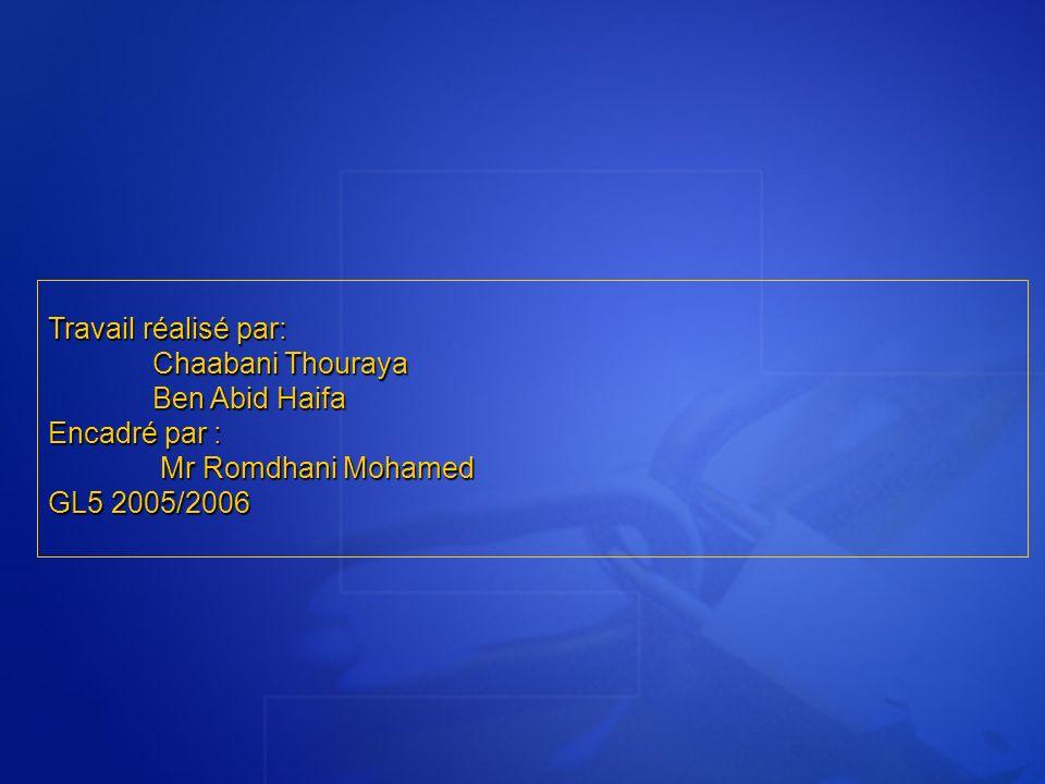 Travail réalisé par: Chaabani Thouraya Ben Abid Haifa Encadré par : Mr Romdhani Mohamed Mr Romdhani Mohamed GL5 2005/2006