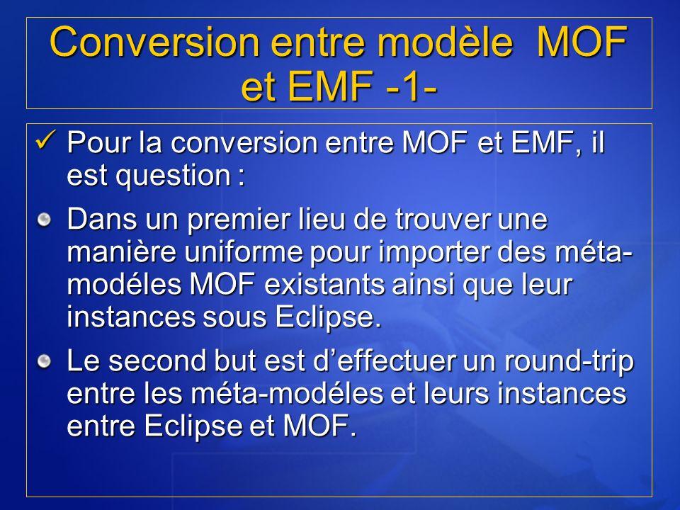 Pour la conversion entre MOF et EMF, il est question : Pour la conversion entre MOF et EMF, il est question : Dans un premier lieu de trouver une mani