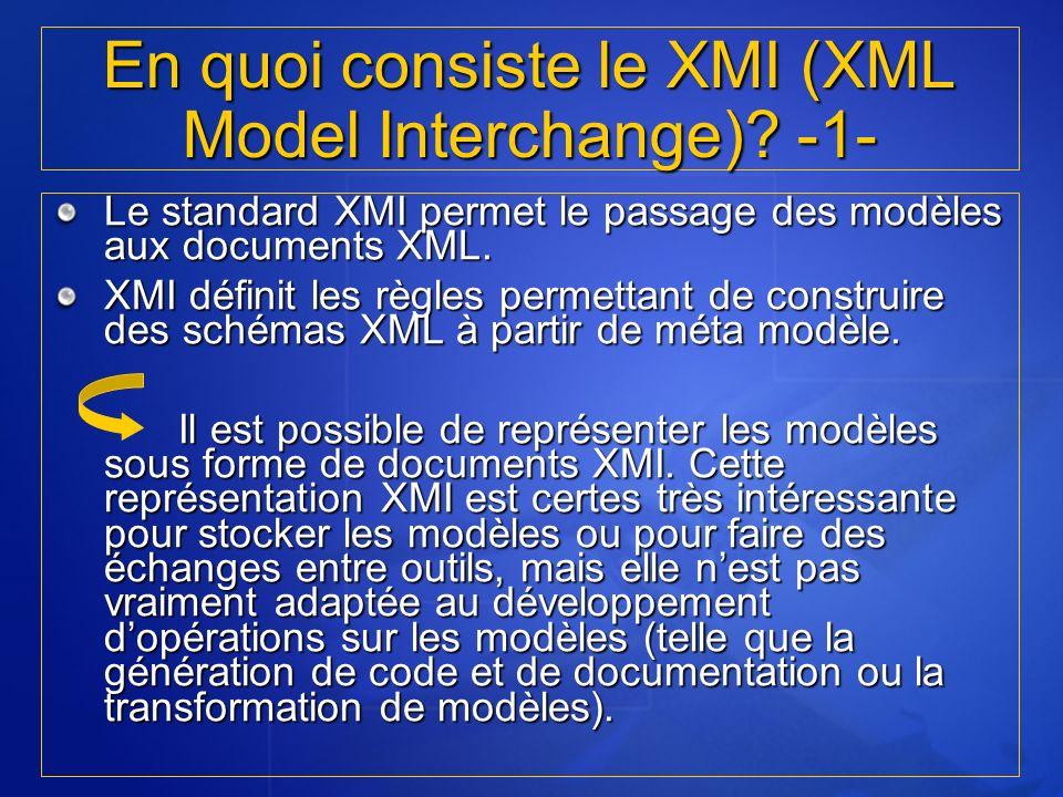 Le standard XMI permet le passage des modèles aux documents XML. XMI définit les règles permettant de construire des schémas XML à partir de méta modè