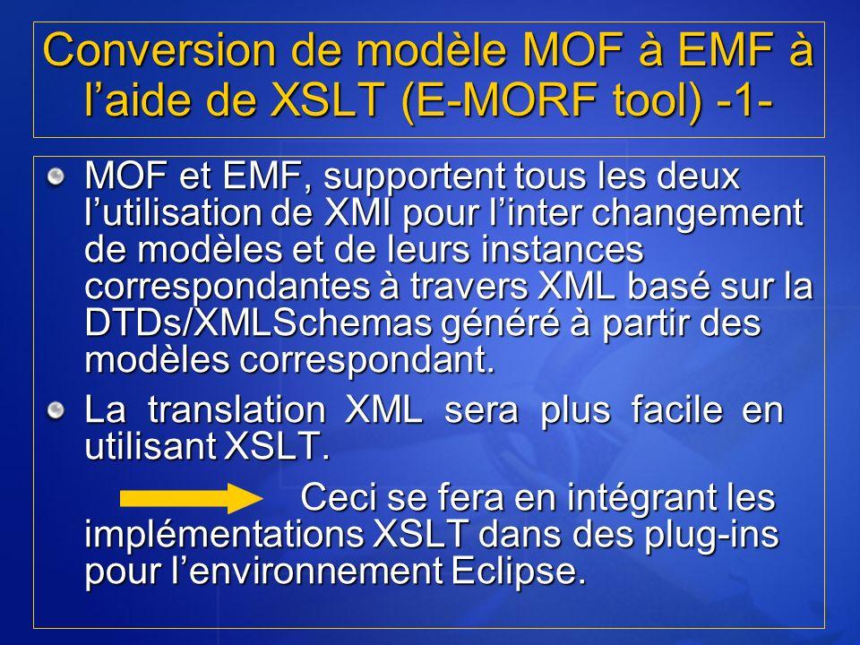 MOF et EMF, supportent tous les deux lutilisation de XMI pour linter changement de modèles et de leurs instances correspondantes à travers XML basé su