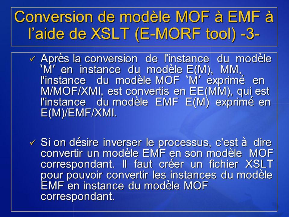 Apr è s la conversion de l'instance du mod è le M en instance du mod è le E(M), MM, l'instance du mod è le MOF M exprim é en M/MOF/XMI, est convertis