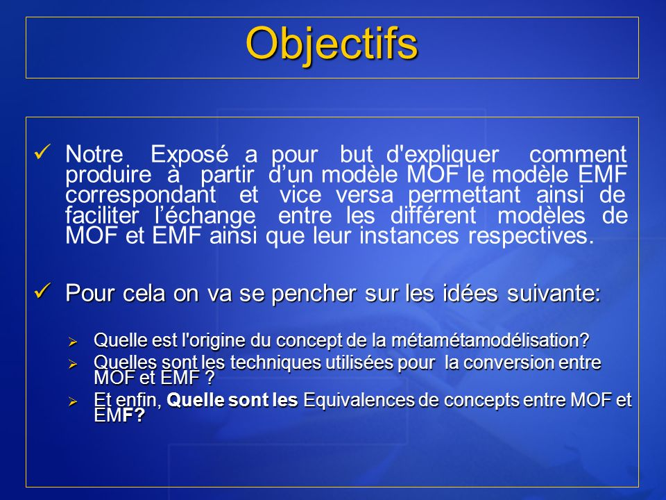 En novembre 2000, lOMG (Object Management Group) annonçait son initiative MDA :Model Driven Architecture (Soley et al., 2000).