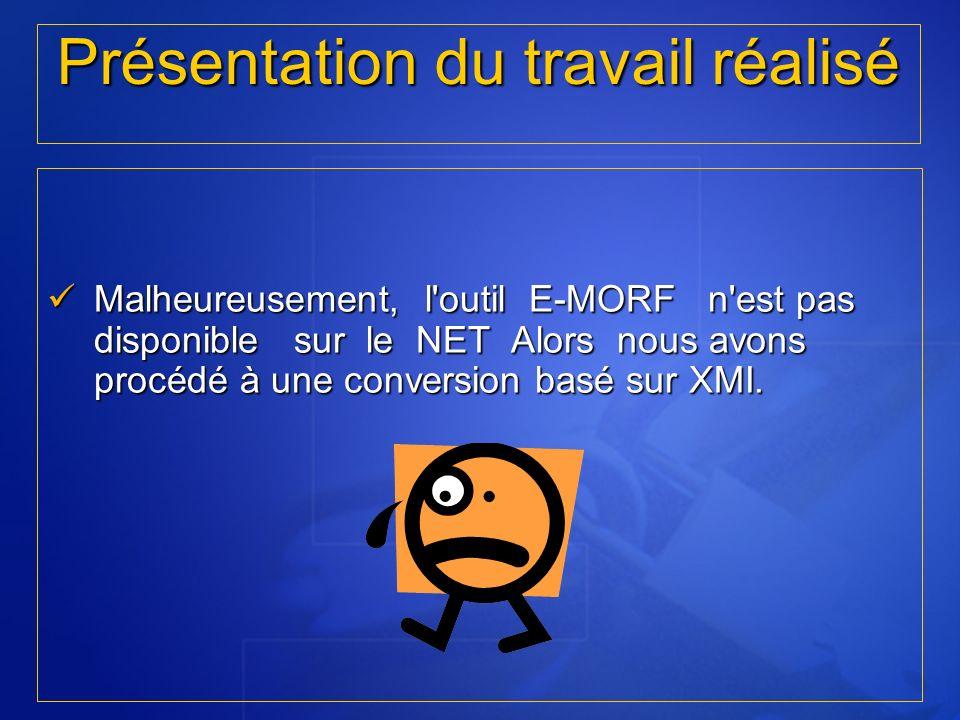Présentation du travail réalisé Malheureusement, l'outil E-MORF n'est pas disponible sur le NET Alors nous avons procédé à une conversion basé sur XMI