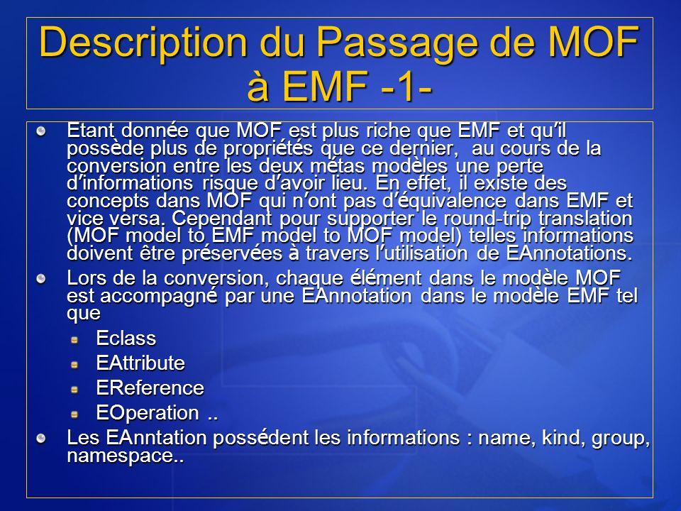 Etant donn é e que MOF est plus riche que EMF et qu il poss è de plus de propri é t é s que ce dernier, au cours de la conversion entre les deux m é t