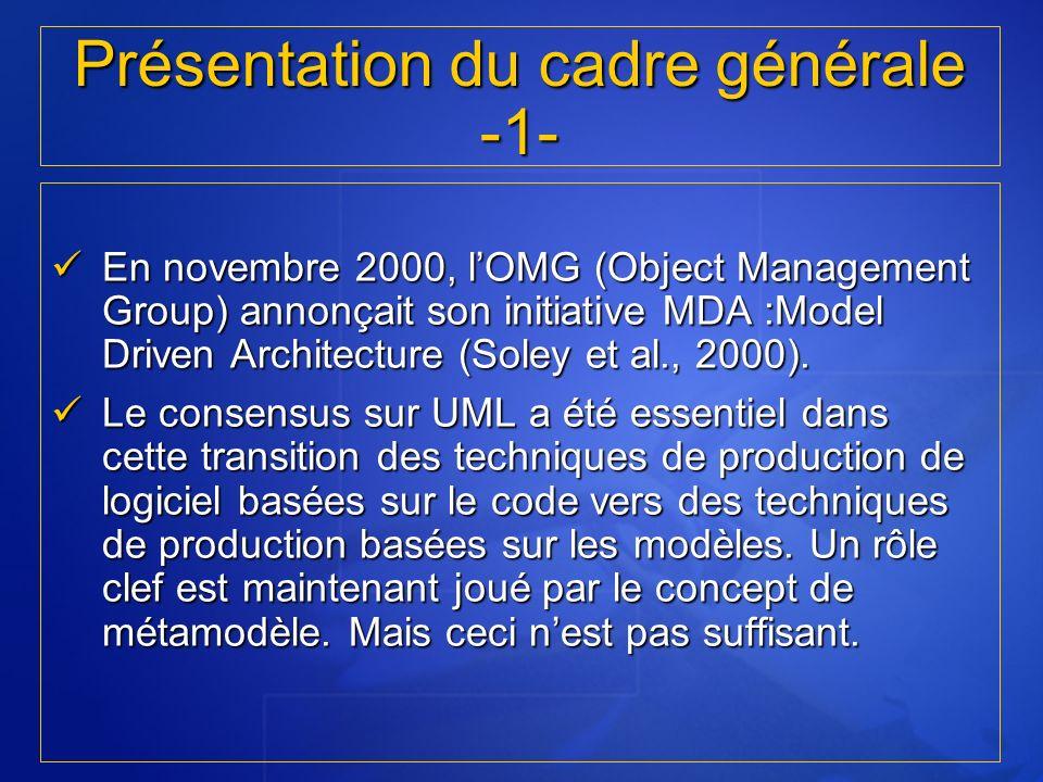 En novembre 2000, lOMG (Object Management Group) annonçait son initiative MDA :Model Driven Architecture (Soley et al., 2000). En novembre 2000, lOMG