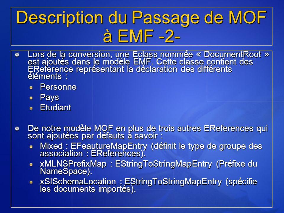 Lors de la conversion, une Eclass nomm é e « DocumentRoot » est ajout é s dans le mod è le EMF. Cette classe contient des EReference repr é sentant la