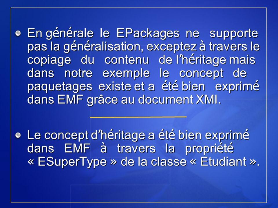 En g é n é rale le EPackages ne supporte pas la g é n é ralisation, exceptez à travers le copiage du contenu de l h é ritage mais dans notre exemple l