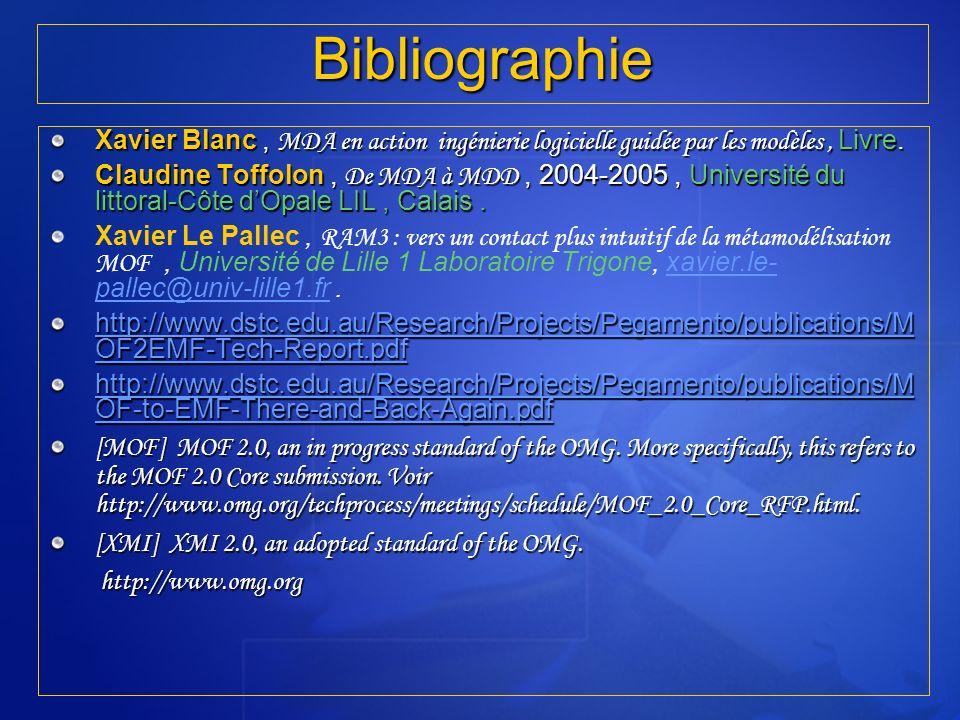Bibliographie Xavier Blanc, MDA en action ingénierie logicielle guidée par les modèles, Livre. Claudine Toffolon, De MDA à MDD, 2004-2005, Université